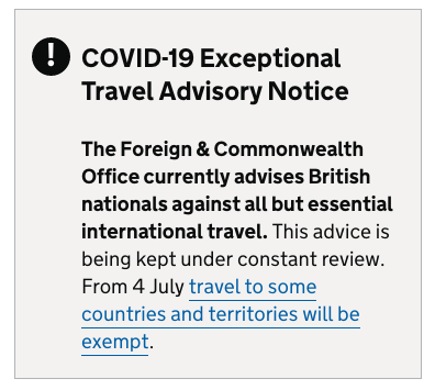FCO Travel Advice 3rd July 2020